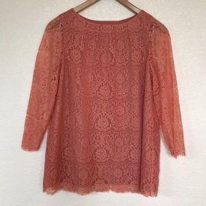 Fossil lace women's pink/melon top sz Medium